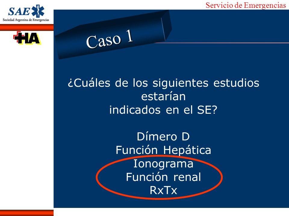 Servicio de Emergencias Alberto José Machado IntroducciónNomencEmergFXTriageCasoDiagnósticoTiempo ¿Cuáles de los siguientes estudios estarían indicado