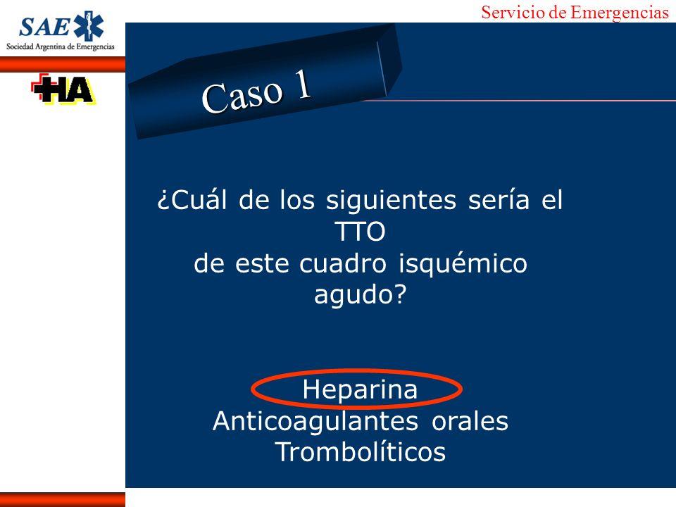 Servicio de Emergencias Alberto José Machado IntroducciónNomencEmergFXTriageCasoDiagnósticoTiempo ¿Cuál de los siguientes sería el TTO de este cuadro