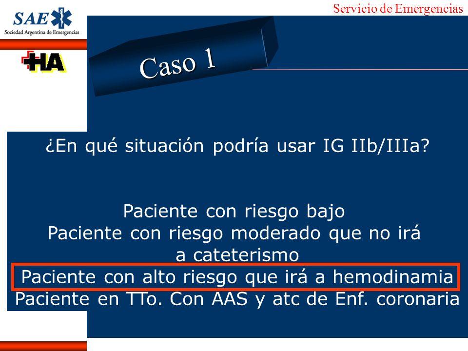 Servicio de Emergencias Alberto José Machado IntroducciónNomencEmergFXTriageCasoDiagnósticoTiempo ¿En qué situación podría usar IG IIb/IIIa? Paciente