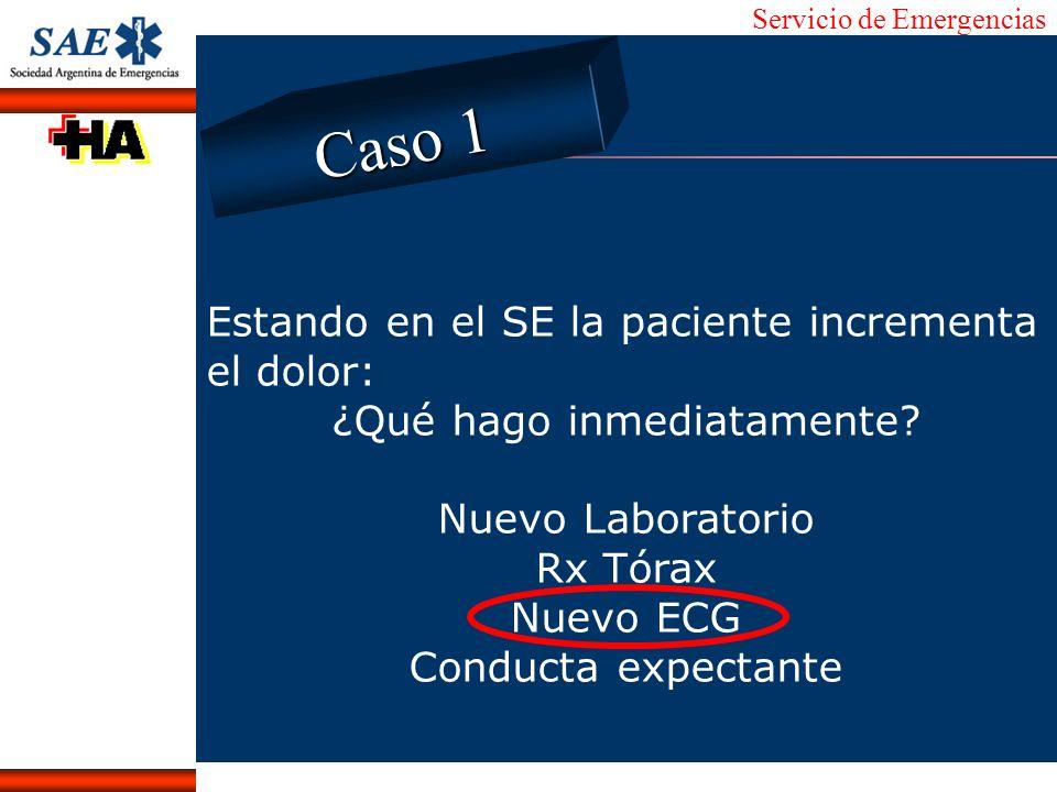 Servicio de Emergencias Alberto José Machado IntroducciónNomencEmergFXTriageCasoDiagnósticoTiempo Estando en el SE la paciente incrementa el dolor: ¿Q