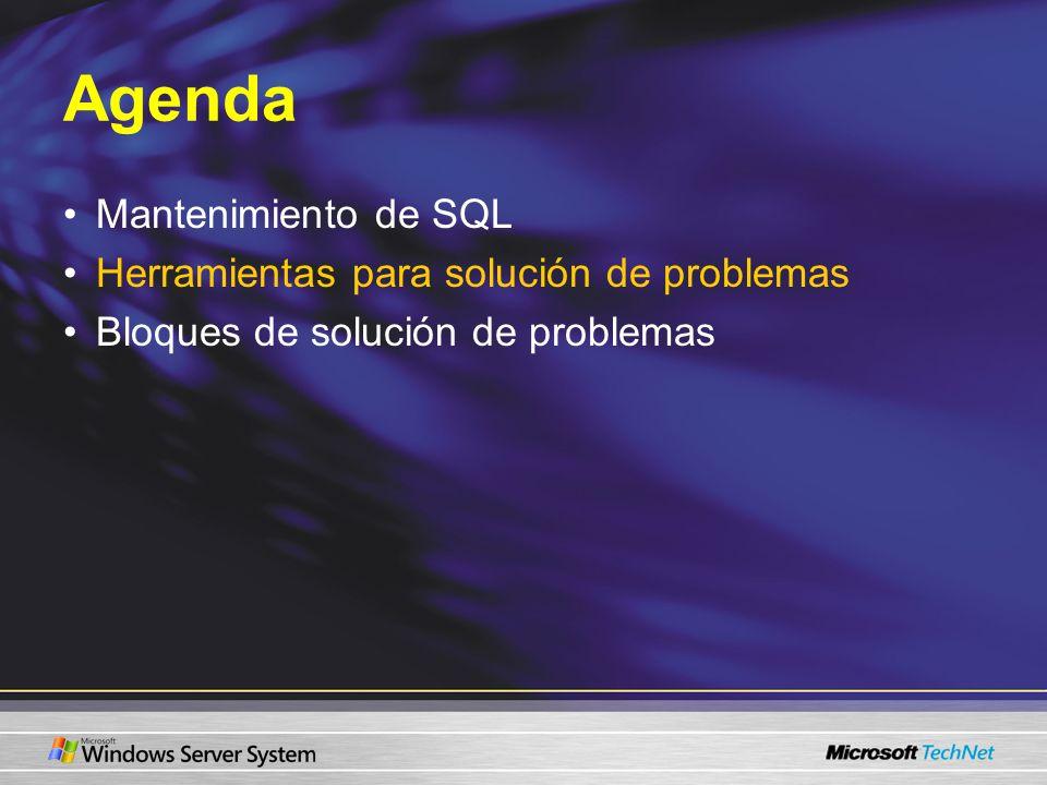 Agenda Mantenimiento de SQL Herramientas para solución de problemas Bloques de solución de problemas