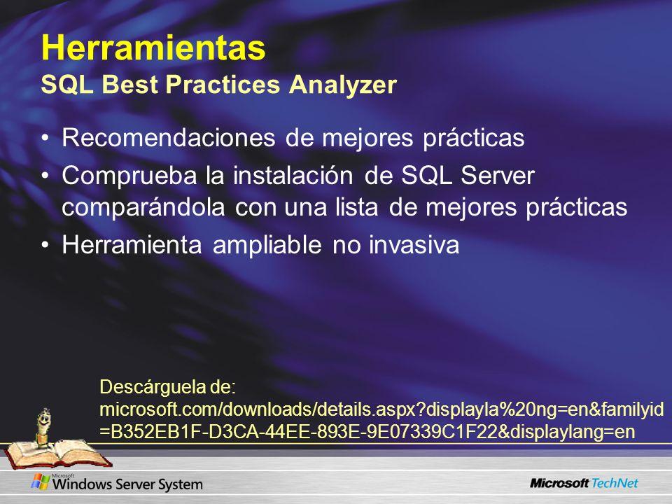 Herramientas SQL Best Practices Analyzer Recomendaciones de mejores prácticas Comprueba la instalación de SQL Server comparándola con una lista de mej