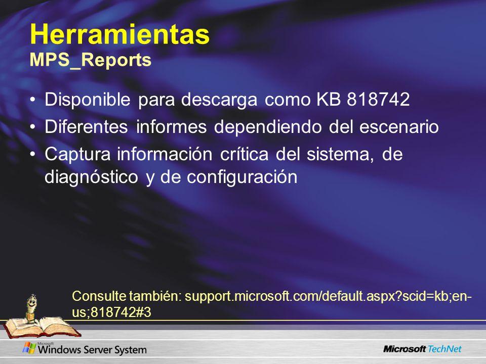 Herramientas MPS_Reports Disponible para descarga como KB 818742 Diferentes informes dependiendo del escenario Captura información crítica del sistema