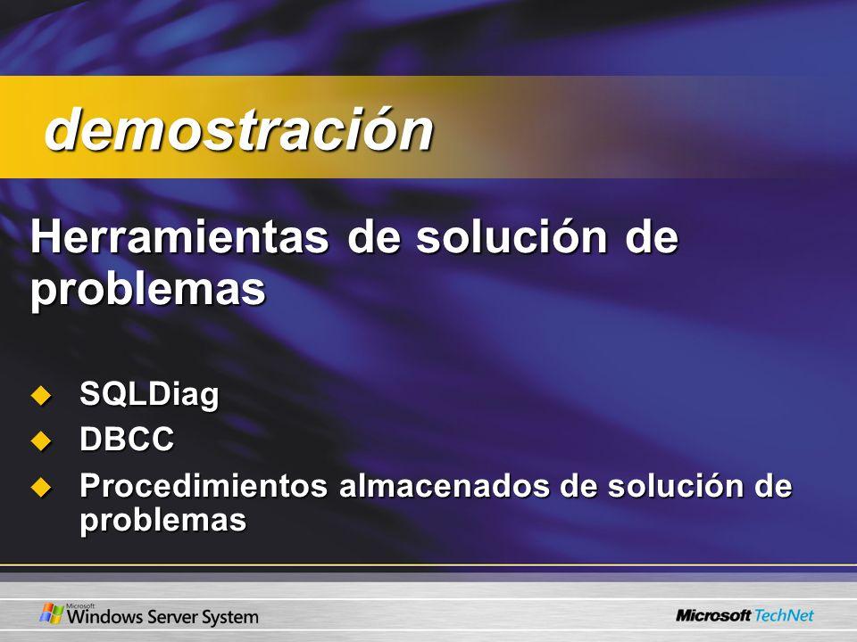 Herramientas de solución de problemas Herramientas de solución de problemas SQLDiag SQLDiag DBCC DBCC Procedimientos almacenados de solución de proble