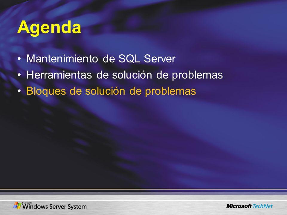 Bloques SQL Profiler Herramienta gráfica para supervisar eventos –La supervisión agrega gastos indirectos al servidor Los datos capturados se pueden volver a reproducir Escenarios de SQL Profiler: –Encuentra las consultas con el peor rendimiento –Identifica la causa de una consulta estancada –Supervisa el rendimiento de un procedimiento almacenado –Audita la actividad de SQL Server –Supervisa la actividad de Transact-SQL por usuario