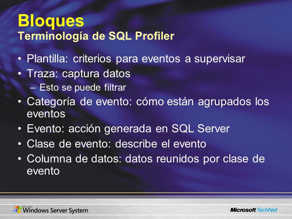 Bloques Terminología de SQL Profiler Plantilla: criterios para eventos a supervisar Traza: captura datos –Esto se puede filtrar Categoría de evento: cómo están agrupados los eventos Evento: acción generada en SQL Server Clase de evento: describe el evento Columna de datos: datos reunidos por clase de evento