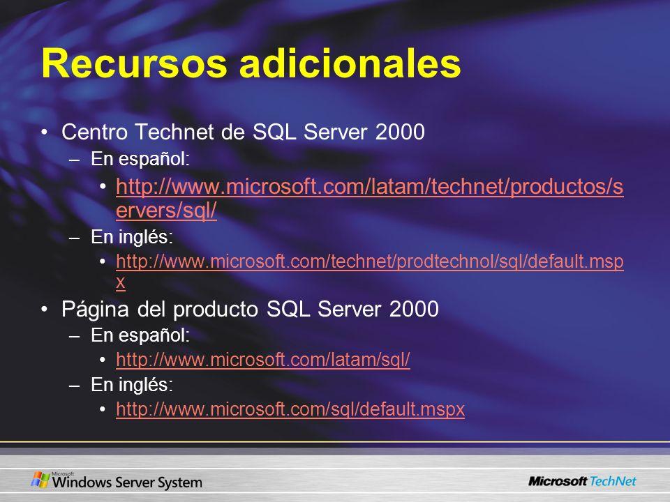 Recursos adicionales Centro Technet de SQL Server 2000 –En español: http://www.microsoft.com/latam/technet/productos/s ervers/sql/http://www.microsoft
