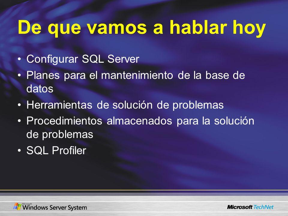 De que vamos a hablar hoy Configurar SQL Server Planes para el mantenimiento de la base de datos Herramientas de solución de problemas Procedimientos