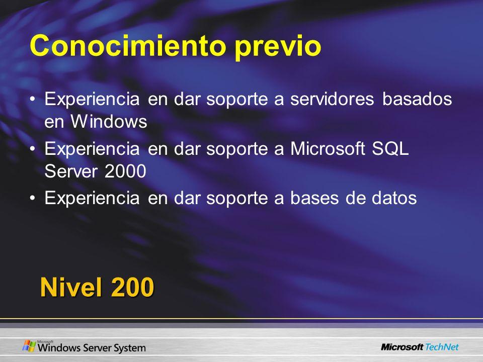 Conocimiento previo Experiencia en dar soporte a servidores basados en Windows Experiencia en dar soporte a Microsoft SQL Server 2000 Experiencia en d