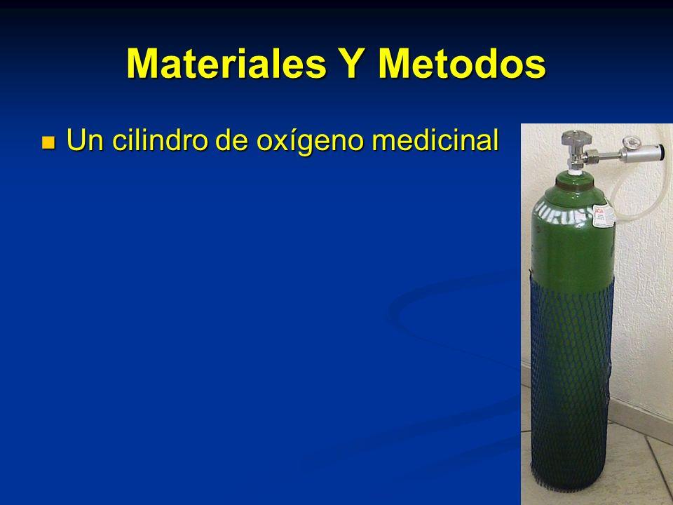Materiales Y Metodos Un cilindro de oxígeno medicinal Un cilindro de oxígeno medicinal