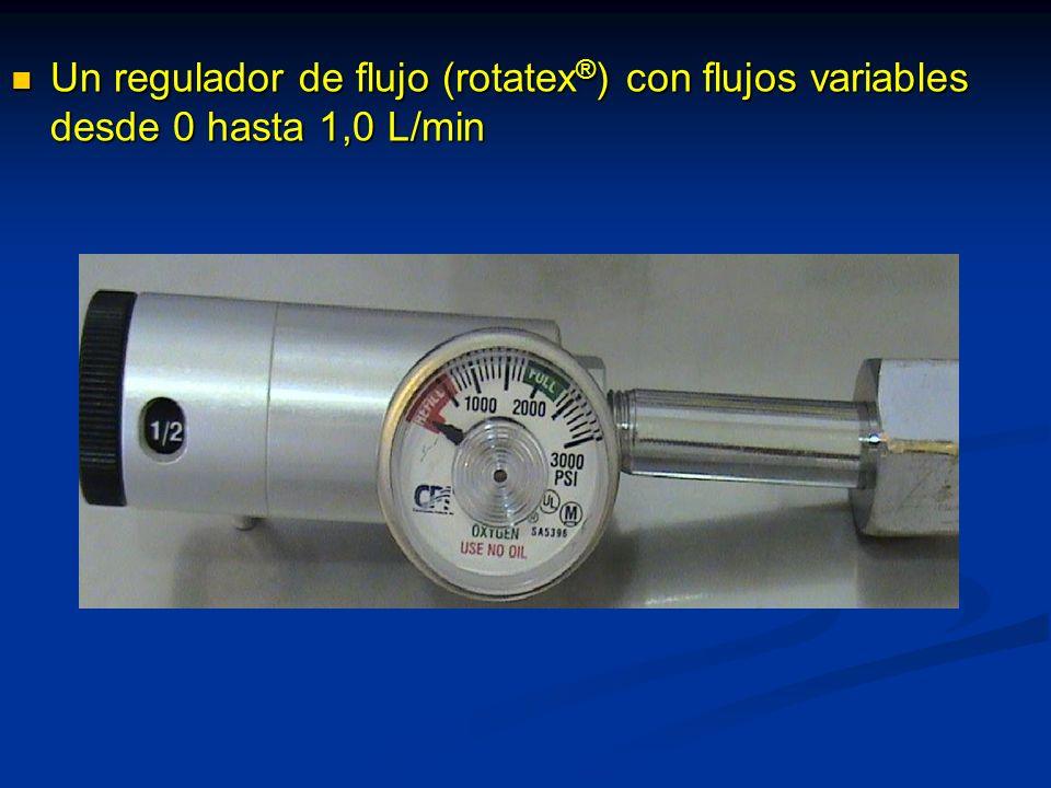 Un regulador de flujo (rotatex ® ) con flujos variables desde 0 hasta 1,0 L/min Un regulador de flujo (rotatex ® ) con flujos variables desde 0 hasta