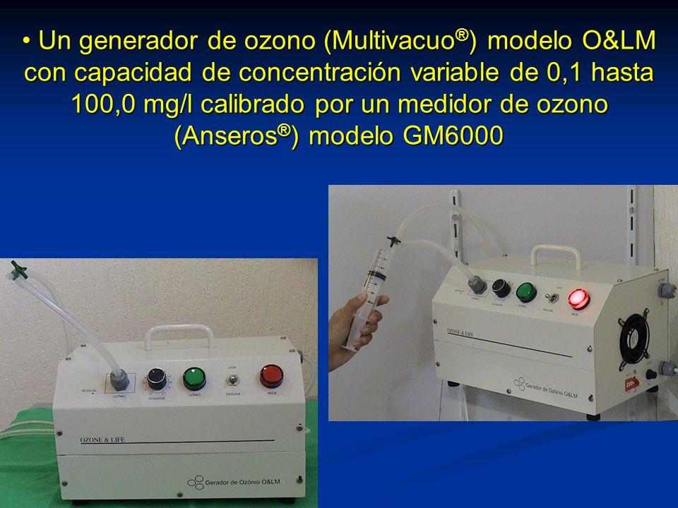 Un generador de ozono (Multivacuo ® ) modelo O&LM con capacidad de concentración variable de 0,1 hasta 100,0 mg/l calibrado por un medidor de ozono (Anseros ® ) modelo GM6000 Un generador de ozono (Multivacuo ® ) modelo O&LM con capacidad de concentración variable de 0,1 hasta 100,0 mg/l calibrado por un medidor de ozono (Anseros ® ) modelo GM6000