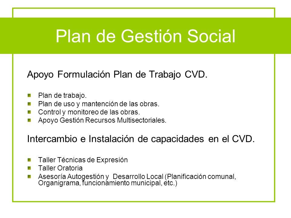 Plan de Gestión Social Apoyo Formulación Plan de Trabajo CVD. Plan de trabajo. Plan de uso y mantención de las obras. Control y monitoreo de las obras