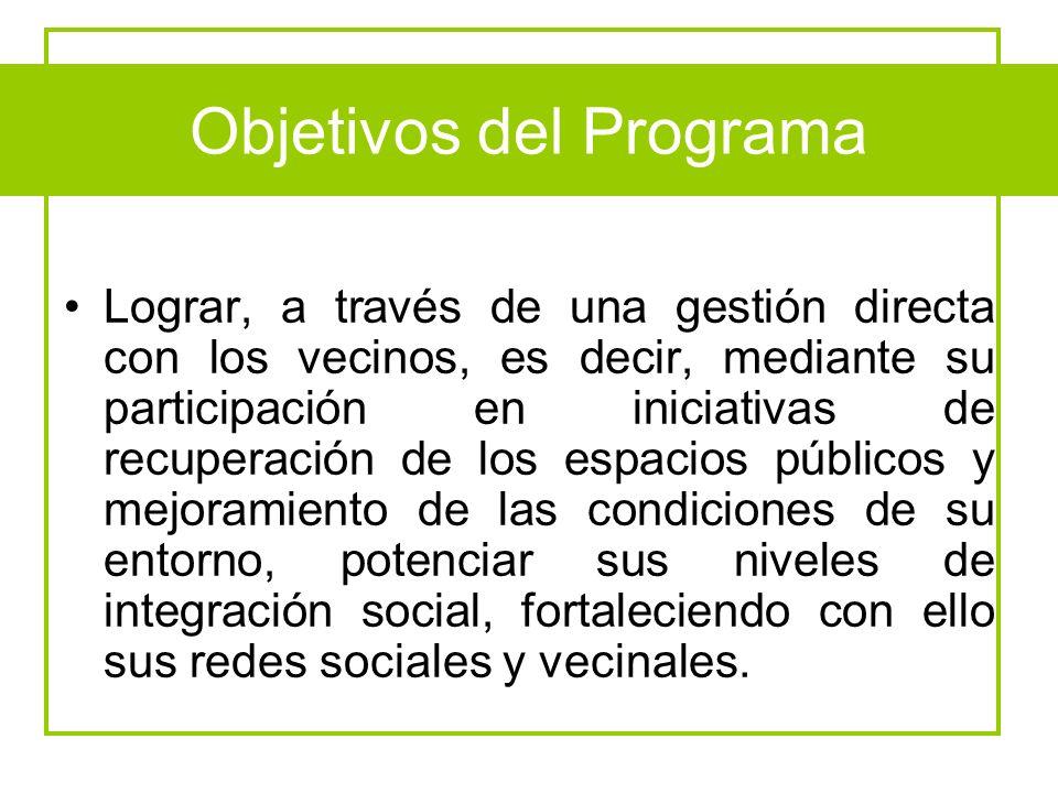 Objetivos del Programa Lograr, a través de una gestión directa con los vecinos, es decir, mediante su participación en iniciativas de recuperación de
