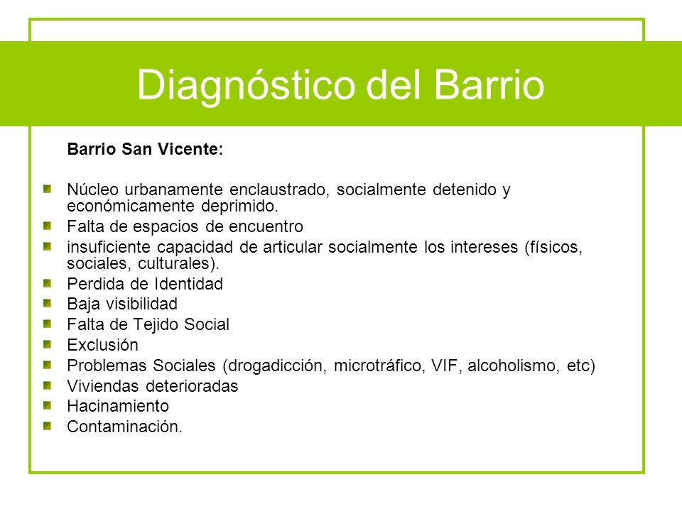 Diagnóstico del Barrio Barrio San Vicente: Núcleo urbanamente enclaustrado, socialmente detenido y económicamente deprimido. Falta de espacios de encu