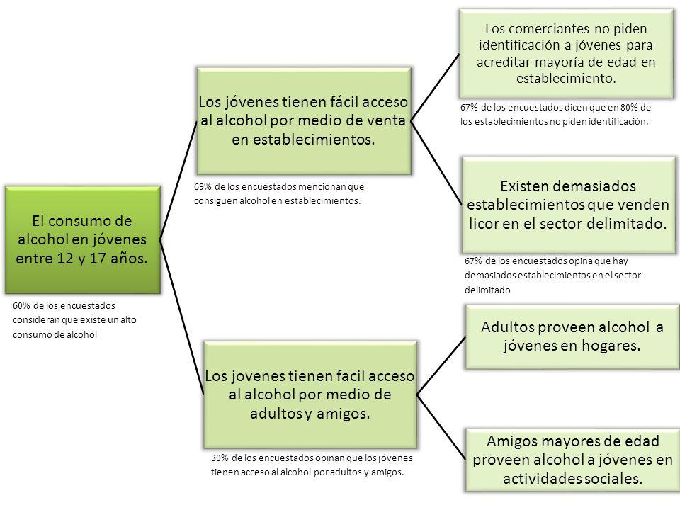 El consumo de alcohol en jóvenes entre 12 y 17 años. Los jóvenes tienen fácil acceso al alcohol por medio de venta en establecimientos. Los comerciant