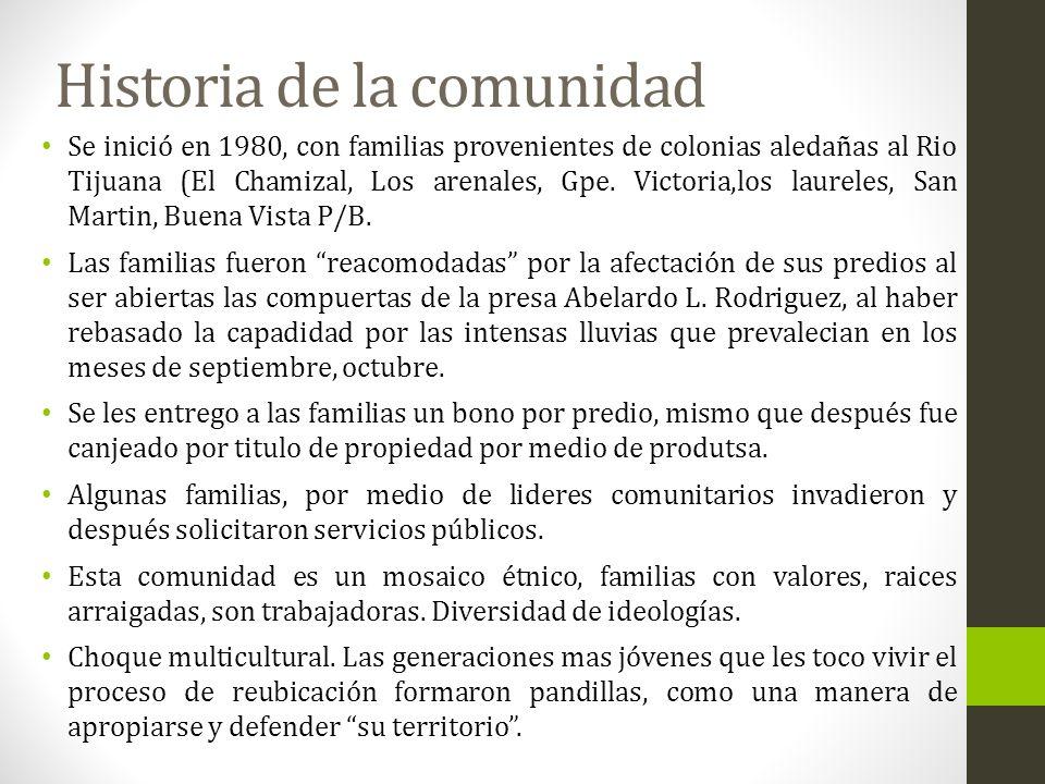 Historia de la comunidad Se inició en 1980, con familias provenientes de colonias aledañas al Rio Tijuana (El Chamizal, Los arenales, Gpe. Victoria,lo