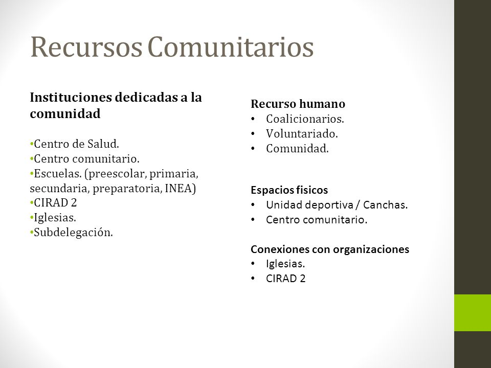 Recursos Comunitarios Instituciones dedicadas a la comunidad Centro de Salud. Centro comunitario. Escuelas. (preescolar, primaria, secundaria, prepara