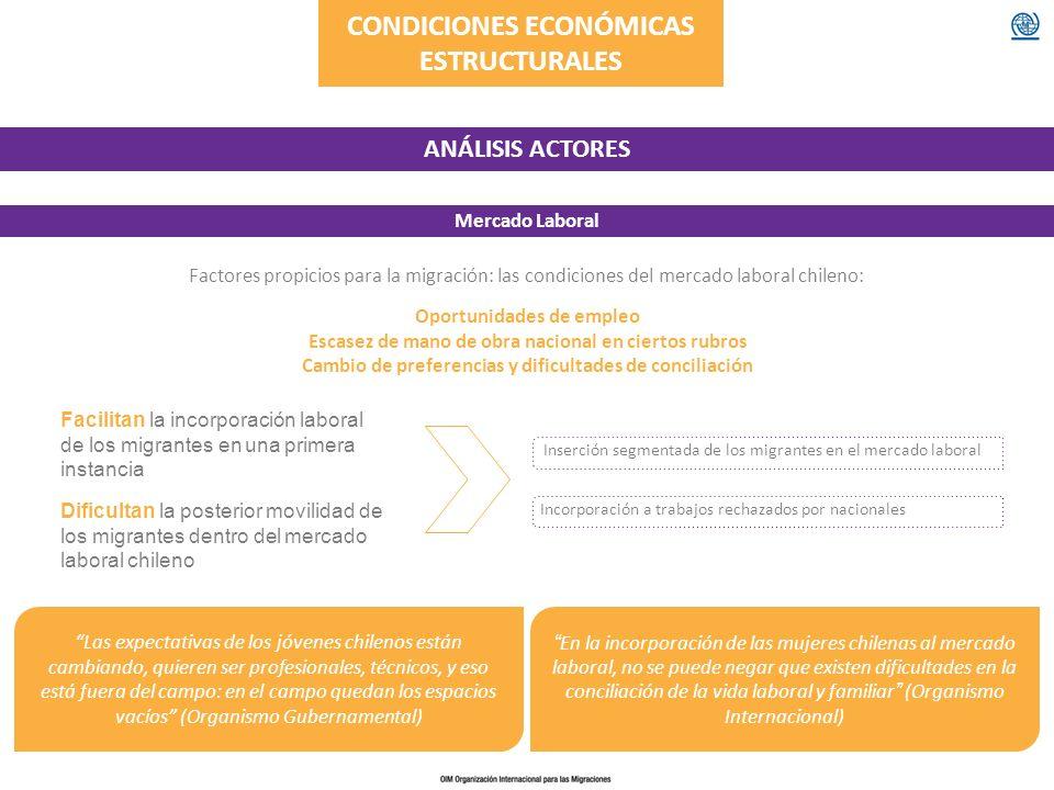 CONDICIONES ECONÓMICAS ESTRUCTURALES ANÁLISIS ACTORES Mercado Laboral Las expectativas de los jóvenes chilenos están cambiando, quieren ser profesiona