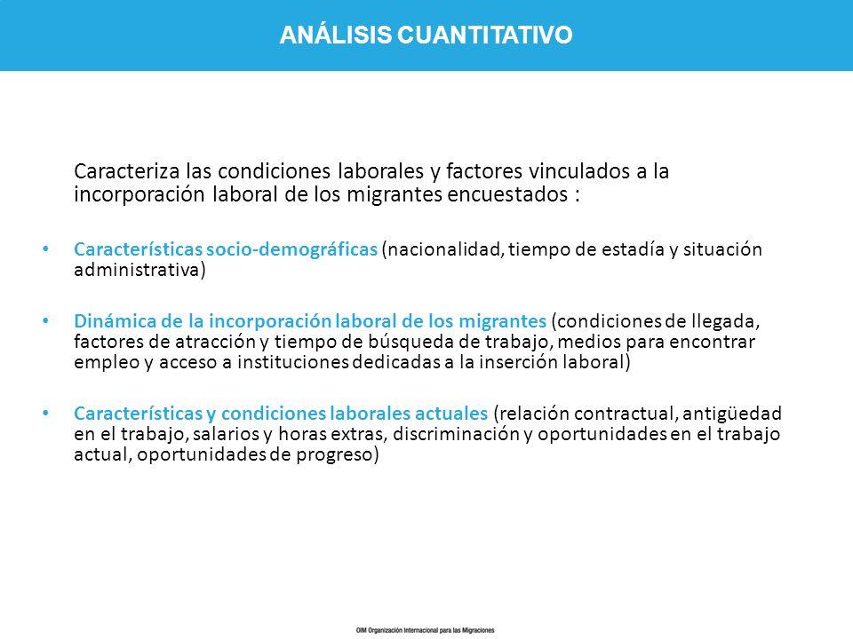 Caracteriza las condiciones laborales y factores vinculados a la incorporación laboral de los migrantes encuestados : Características socio-demográfic