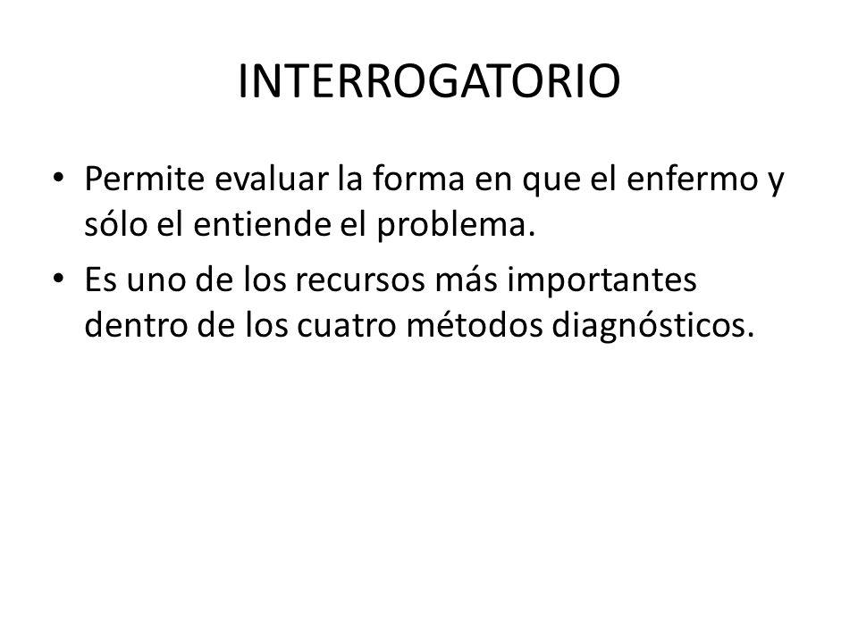 INTERROGATORIO Permite evaluar la forma en que el enfermo y sólo el entiende el problema. Es uno de los recursos más importantes dentro de los cuatro