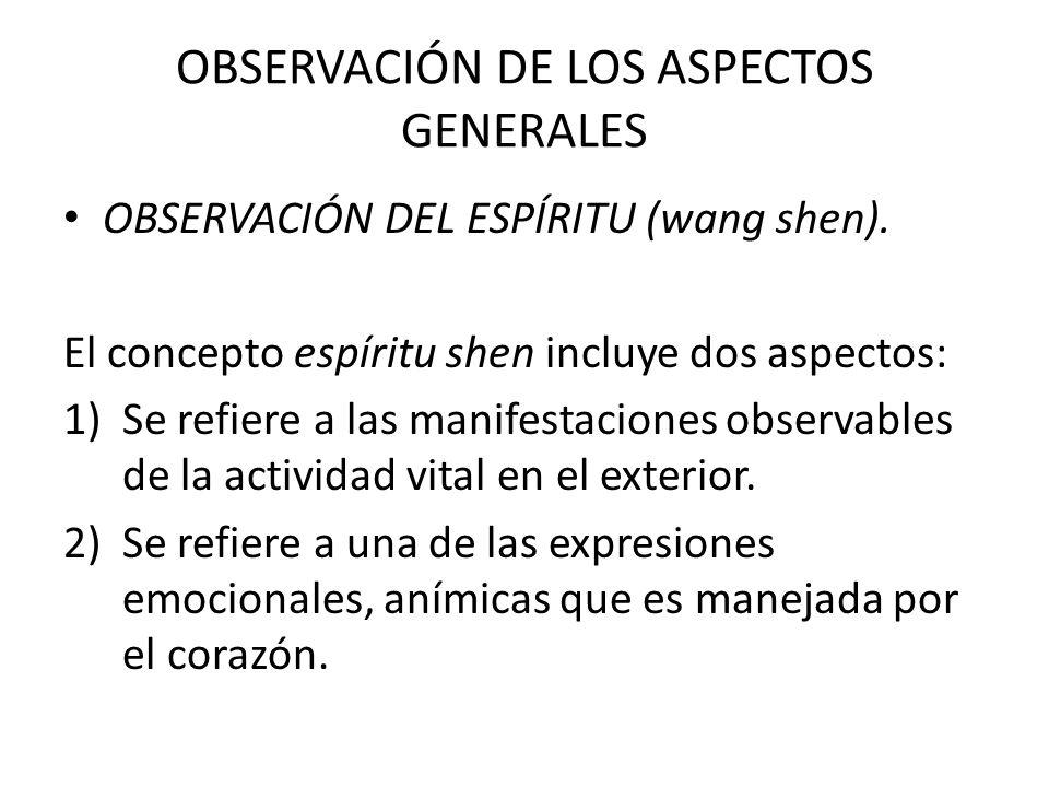 OBSERVACIÓN DE LOS ASPECTOS GENERALES OBSERVACIÓN DEL ESPÍRITU (wang shen). El concepto espíritu shen incluye dos aspectos: 1)Se refiere a las manifes