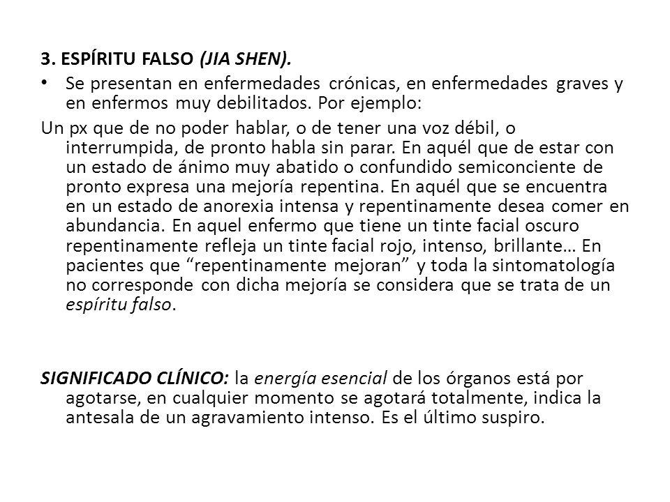 3. ESPÍRITU FALSO (JIA SHEN). Se presentan en enfermedades crónicas, en enfermedades graves y en enfermos muy debilitados. Por ejemplo: Un px que de n