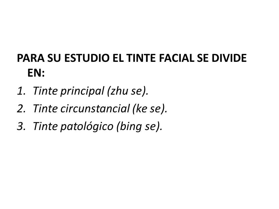PARA SU ESTUDIO EL TINTE FACIAL SE DIVIDE EN: 1.Tinte principal (zhu se). 2.Tinte circunstancial (ke se). 3.Tinte patológico (bing se).