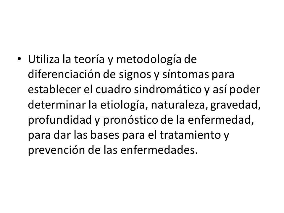 Utiliza la teoría y metodología de diferenciación de signos y síntomas para establecer el cuadro sindromático y así poder determinar la etiología, nat