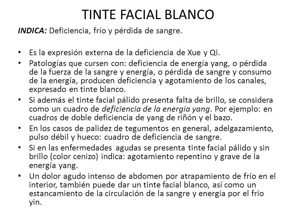 TINTE FACIAL BLANCO INDICA: Deficiencia, frío y pérdida de sangre. Es la expresión externa de la deficiencia de Xue y Qi. Patologías que cursen con: d