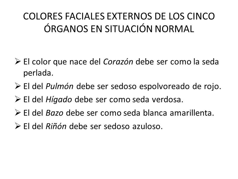 COLORES FACIALES EXTERNOS DE LOS CINCO ÓRGANOS EN SITUACIÓN NORMAL El color que nace del Corazón debe ser como la seda perlada. El del Pulmón debe ser