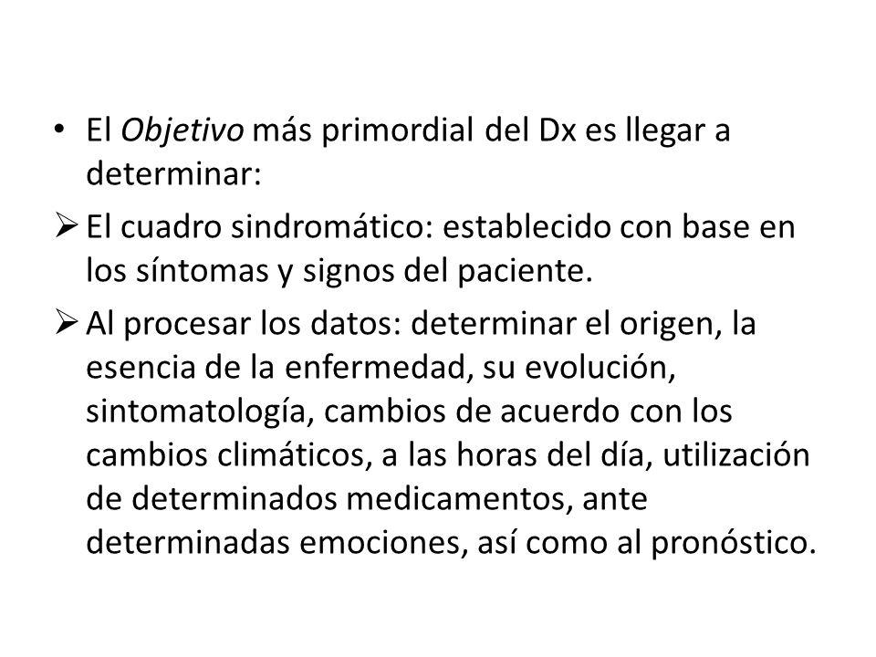 El Objetivo más primordial del Dx es llegar a determinar: El cuadro sindromático: establecido con base en los síntomas y signos del paciente. Al proce