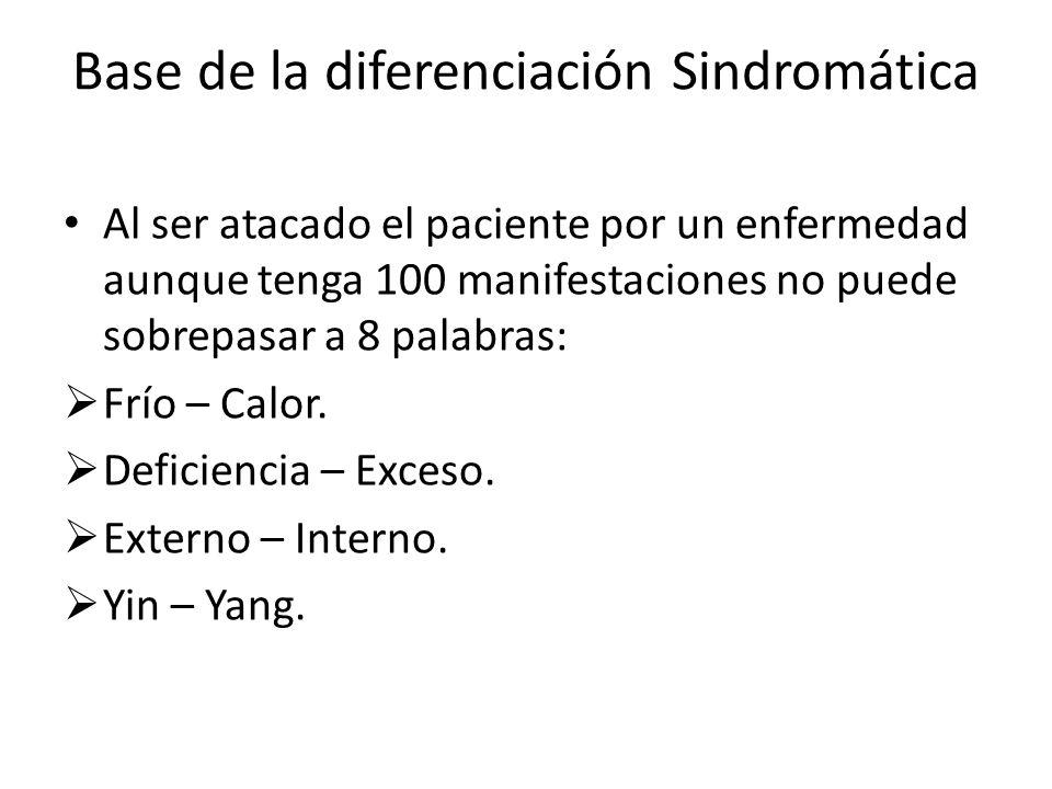 Base de la diferenciación Sindromática Al ser atacado el paciente por un enfermedad aunque tenga 100 manifestaciones no puede sobrepasar a 8 palabras: