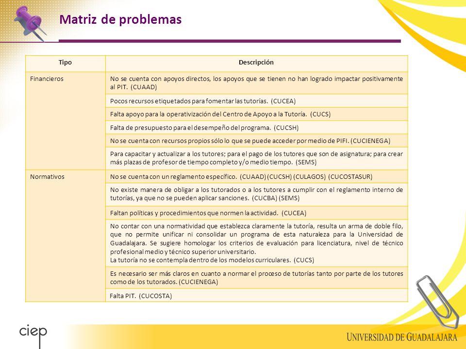 Matriz de problemas TipoDescripción FinancierosNo se cuenta con apoyos directos, los apoyos que se tienen no han logrado impactar positivamente al PIT.