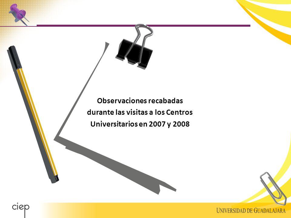 Observaciones recabadas durante las visitas a los Centros Universitarios en 2007 y 2008