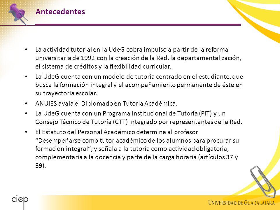 Antecedentes La actividad tutorial en la UdeG cobra impulso a partir de la reforma universitaria de 1992 con la creación de la Red, la departamentalización, el sistema de créditos y la flexibilidad curricular.