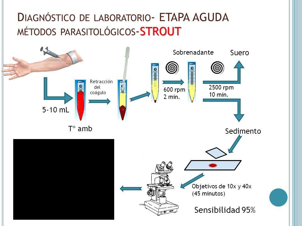 STROUT D IAGNÓSTICO DE LABORATORIO - ETAPA AGUDA MÉTODOS PARASITOLÓGICOS -STROUT Sensibilidad 95% 5-10 mL Tº amb Retracción del coágulo 600 rpm 2 min.