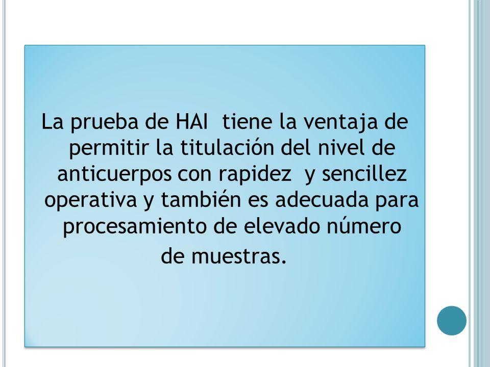 La prueba de HAI tiene la ventaja de permitir la titulación del nivel de anticuerpos con rapidez y sencillez operativa y también es adecuada para proc
