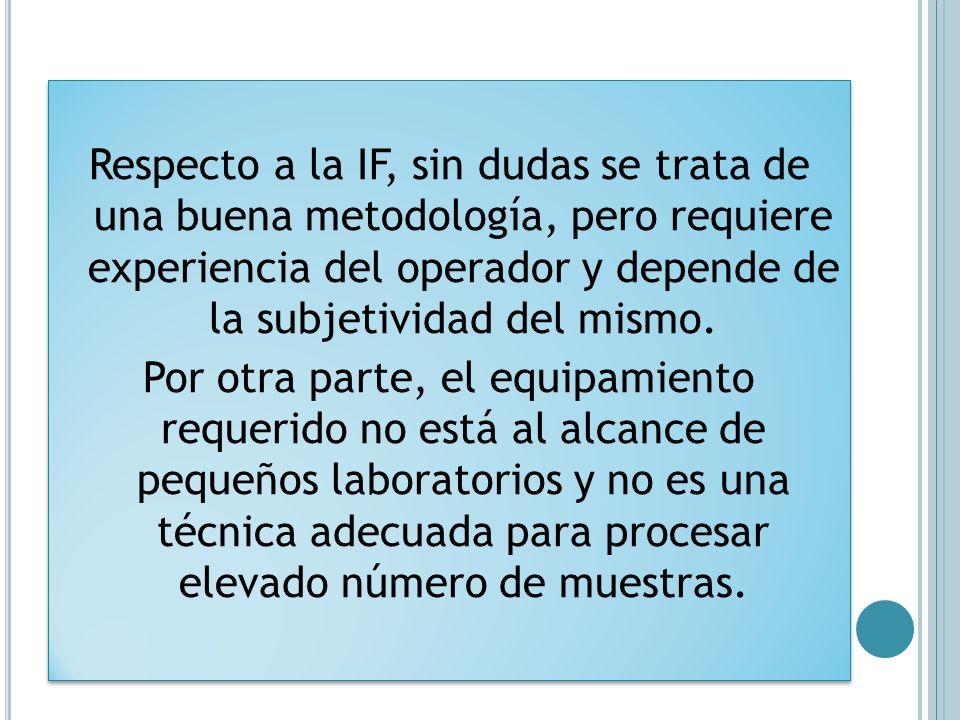 Respecto a la IF, sin dudas se trata de una buena metodología, pero requiere experiencia del operador y depende de la subjetividad del mismo. Por otra