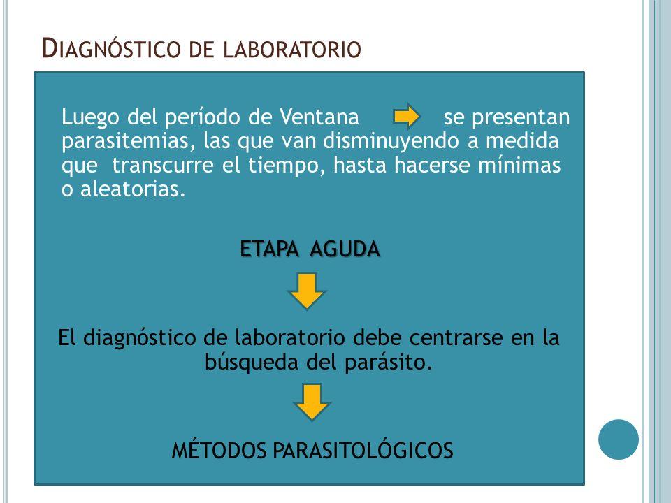 MICROMÉTODO /MICROHEMATOCRITO D IAGNÓSTICO DE LABORATORIO - ETAPA AGUDA MÉTODOS PARASITOLÓGICOS -MICROMÉTODO /MICROHEMATOCRITO Sensibilidad 90 a 95% 45 segundos a 5000 rpm 6 a 9 microhematocrito heparinizado Cerrar extremo con plastilina Cortar BIOSEGURIDAD Objetivos de 10x y 40x (45 minutos)
