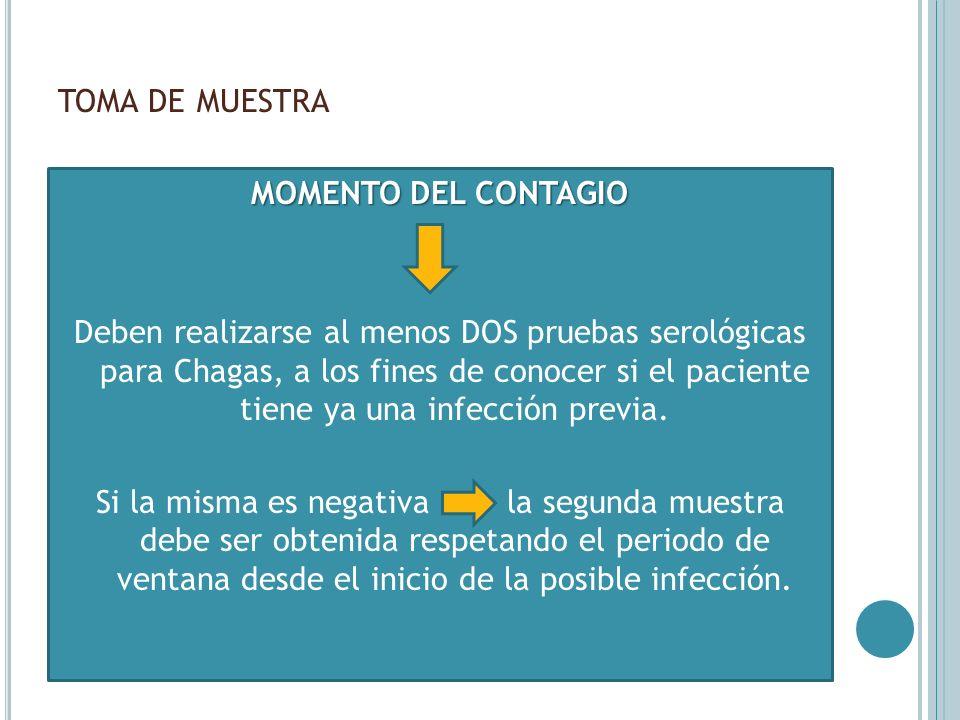 TOMA DE MUESTRA MOMENTO DEL CONTAGIO Deben realizarse al menos DOS pruebas serológicas para Chagas, a los fines de conocer si el paciente tiene ya una