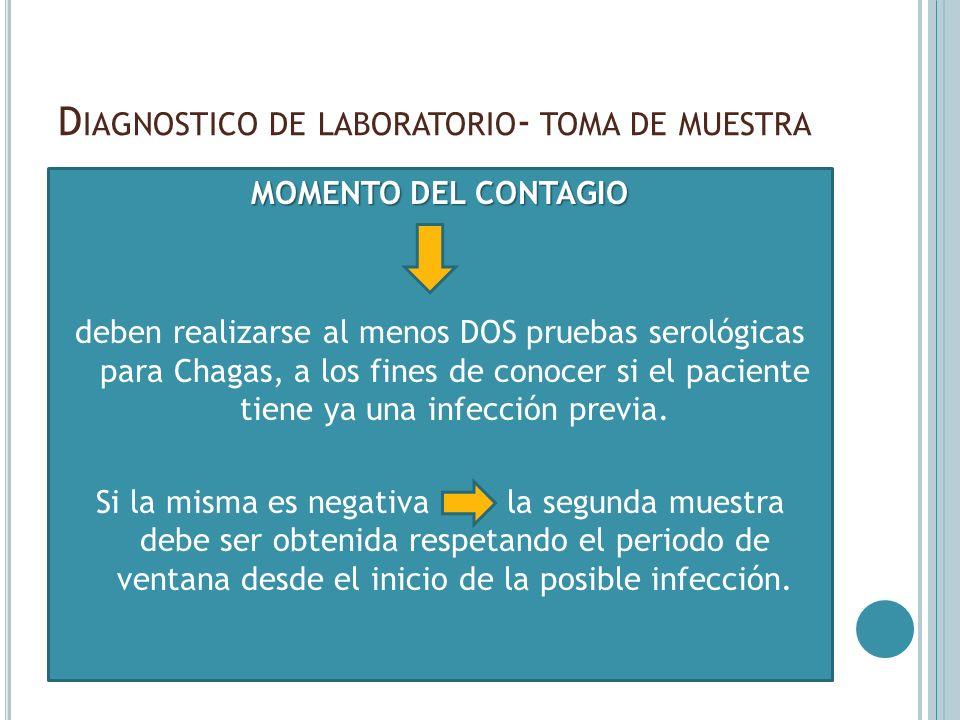 D IAGNOSTICO DE LABORATORIO - TOMA DE MUESTRA MOMENTO DEL CONTAGIO deben realizarse al menos DOS pruebas serológicas para Chagas, a los fines de conoc