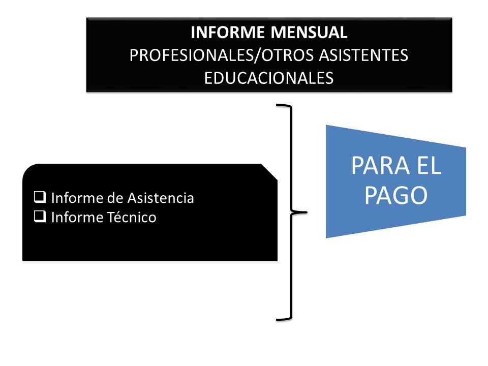 INFORME MENSUAL PROFESIONALES/OTROS ASISTENTES EDUCACIONALES INFORME MENSUAL PROFESIONALES/OTROS ASISTENTES EDUCACIONALES Informe de Asistencia Inform