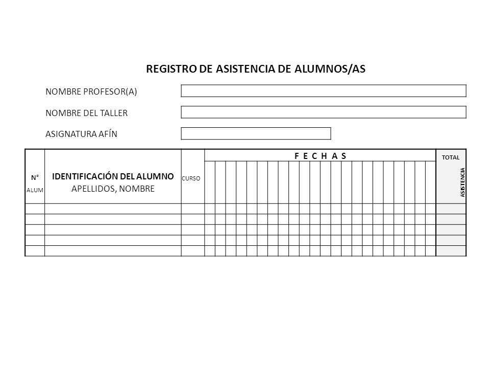 REGISTRO DE ASISTENCIA DE ALUMNOS/AS NOMBRE PROFESOR(A) NOMBRE DEL TALLER ASIGNATURA AFÍN F E C H A S TOTAL N° IDENTIFICACIÓN DEL ALUMNO CURSO ASISTEN