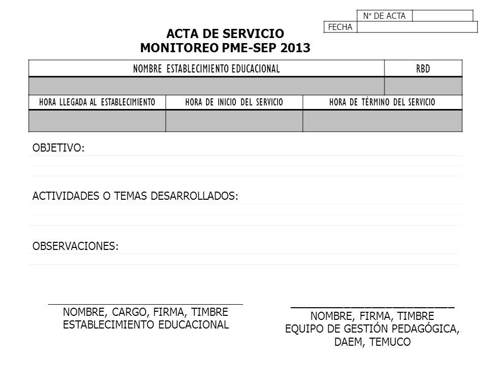 N° DE ACTA FECHA HORA LLEGADA AL ESTABLECIMIENTOHORA DE INICIO DEL SERVICIOHORA DE TÉRMINO DEL SERVICIO ACTA DE SERVICIO MONITOREO PME-SEP 2013 NOMBRE