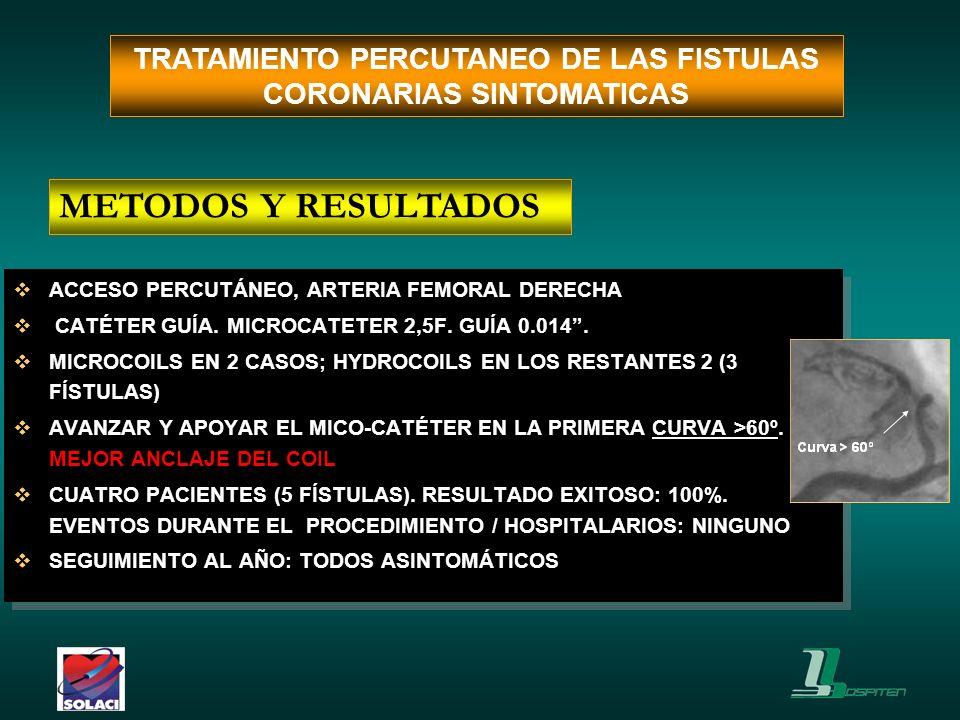 ACCESO PERCUTÁNEO, ARTERIA FEMORAL DERECHA CATÉTER GUÍA. MICROCATETER 2,5F. GUÍA 0.014. MICROCOILS EN 2 CASOS; HYDROCOILS EN LOS RESTANTES 2 (3 FÍSTUL