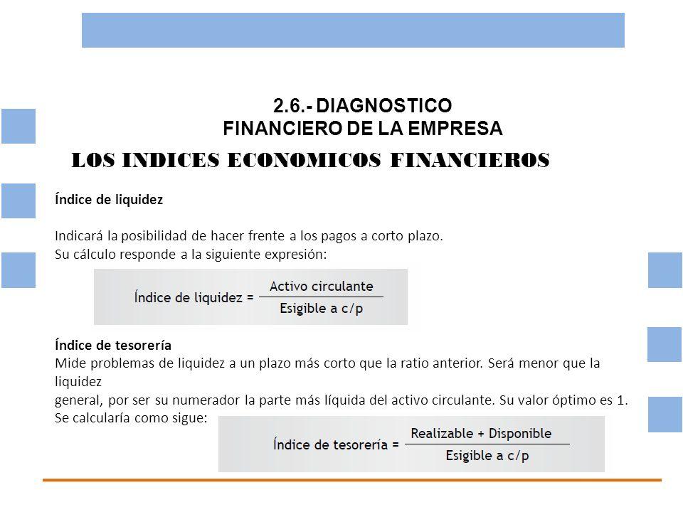 2.6.- DIAGNOSTICO FINANCIERO DE LA EMPRESA OBJETIVO BASICO FINANCIERO LOS INDICES ECONOMICOS FINANCIEROS Índice de liquidez Indicará la posibilidad de