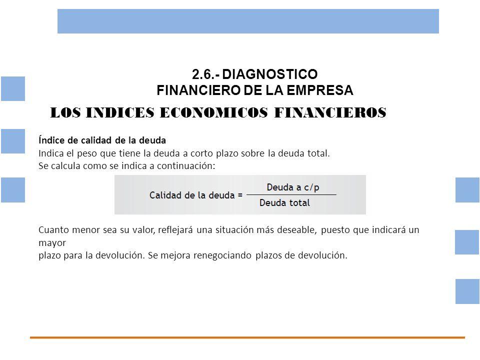 2.6.- DIAGNOSTICO FINANCIERO DE LA EMPRESA OBJETIVO BASICO FINANCIERO LOS INDICES ECONOMICOS FINANCIEROS Índice de calidad de la deuda Indica el peso