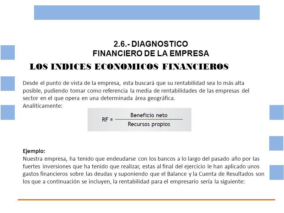 2.6.- DIAGNOSTICO FINANCIERO DE LA EMPRESA OBJETIVO BASICO FINANCIERO LOS INDICES ECONOMICOS FINANCIEROS Desde el punto de vista de la empresa, esta b