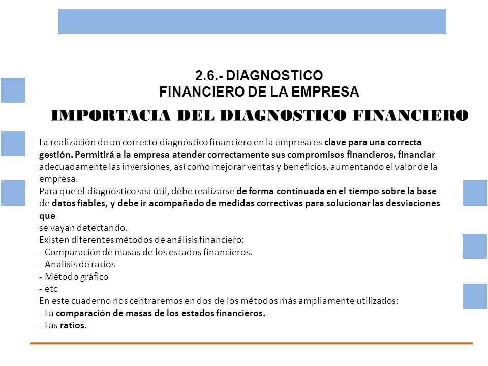2.6.- DIAGNOSTICO FINANCIERO DE LA EMPRESA OBJETIVO BASICO FINANCIERO IMPORTACIA DEL DIAGNOSTICO FINANCIERO La realización de un correcto diagnóstico